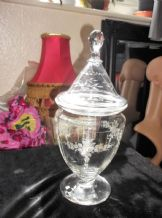 ELEGANT HEAVY ETCHED ROSES GARLANDS GLASS FOOTED JAR & LID ~ GLOBE KNOB 12.75""